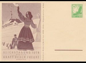 4x Ganzsache, KDF Tagung 1938, Oberschlesien, Goethe, Freiherr vom Stein