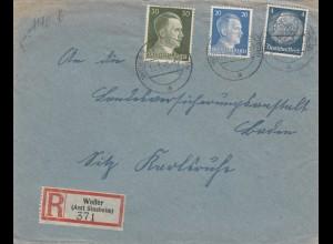 Einschreiben Weiler/Amt Sinsheim nach Karlsruhe 1943