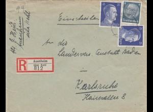 Einschreiben Auenheim über Kehl nach Karlsruhe 1943