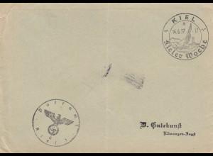Brief aus Kiel, Kieler Woche 1937 nach Ellwangen