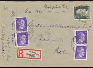Einschreiben Triberg nach Karlsruhe 1943