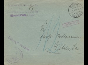 Gebührenpflichtige Dienstsache Bütow/Köslin mit Nachgebühr 1933