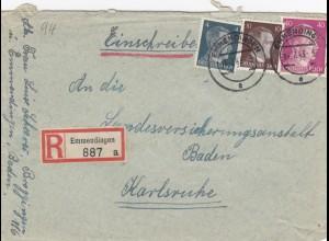 Einschreiben Emmendingen 1943 nach Karlsruhe
