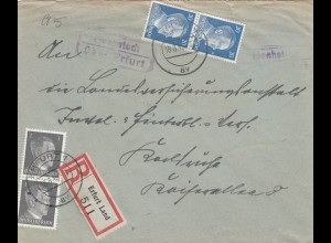 Einschreiben 1943, Erfurt Land/Hochstedt nach Karsruhe