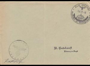 1937: Sonderstempel Aue (Sachs), Gautreffen der NSDAP, Postsache
