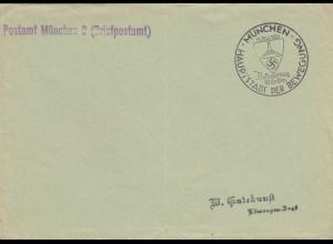 1938: Sonderstempel München, Soldatentag, Postsache