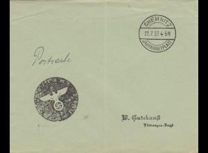 1937: Sonderstempel Chemnitz, Jahrmarktplatz, Negativstempel, Postsache