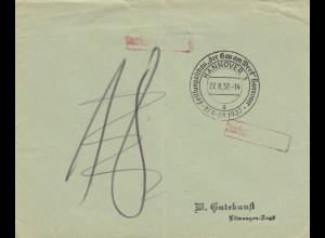 1937: Sonderstempel Hannover, Leistungsschau der Gau am Werk, Postsache