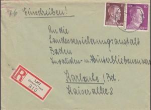 Einschreiben Lahr nach Karlsruhe 1943