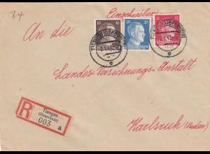 Einschreiben Tiengen/Oberrhein nach Karlsruhe 1943