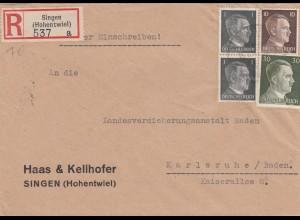 Einschreiben Singen Hohentwiel nach Karlsruhe 1943
