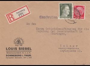 Einschreiben Sonneberg, Metallwarenfabrik nach Weimar 1942