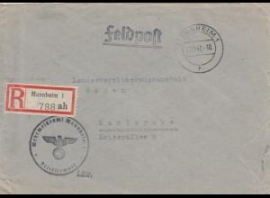 Feldpost Einschreiben Mannheim 1942 nach Karlsruhe