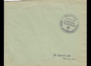 4x Sonderstempel 1938, Troppau, Reichenberg, Karlsbad, Eger, Postsache, Sudeten