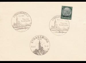 Elsass, Blanko Karte mit 3x Sonderstempel 1941 Strassburg, Rudersport