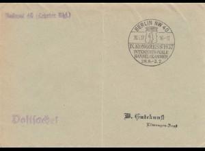 Sonderstempel 1937, Berlin, IHK Kongress als Postsache