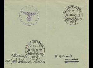 Sonderstempel 1937, Wiesbaden-Biebrich, Zeltwanderer Kongress, Postsache