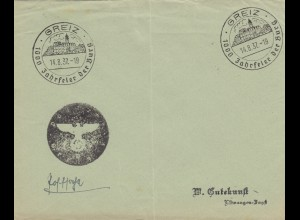 Sonderstempel 1937, Greiz, 1000 Jahresfeier, Negativstempel, Postsache