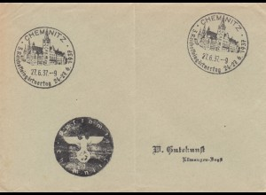 Sonderstempel 1937, Chemnitz, Reichskleingärtnertag, Negativstempel, Postsache