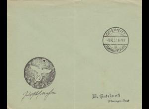 Sonderstempel 1937, Chemnitz Jahrmarktplatz, Negativstempel, Postsache