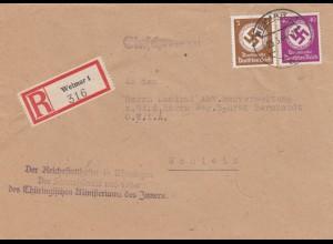 Einschreiben Weimar, Reichsstatthalter Innenministerium nach Schleiz