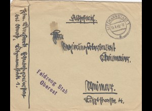 Feldpostbrief 1940 Litzmannstadt, Oberost nach Weimar