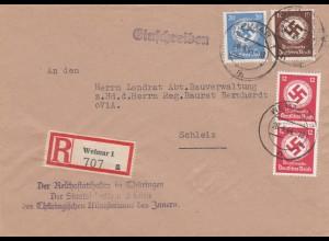 Einschreiben Weimar, Reichstatthalter nach Schleiz 1944