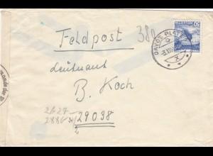 Schweiz: Brief aus Davos 1942 ans Feldpostadresse 29038 mit OKW Zensur
