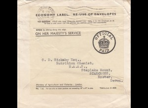 Double used cover: 1953 New York, 1954 Cornwall to Starcross, Exeter, Devon