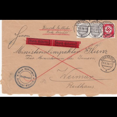 Eilboten Land Thüringen, Esenach nach Weimar, Innenministerium 1934