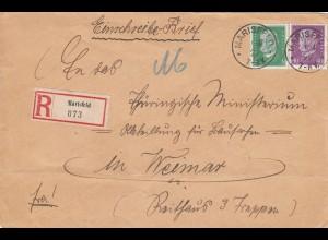 Einschreiben Marisfeld nach Weimar 1929