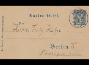 Kartenbrief/Ganzsache Packet Fahrt Berlin 1898
