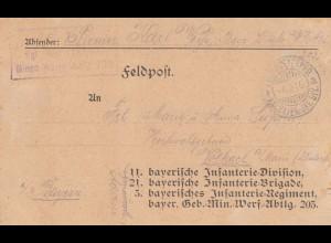 1916: Feldpost Karte an bayrische Infanterie Div/Brigade/Regiment, Minen-Werfer