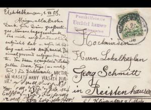 Ansichtskarte Posthilfsstelle Uechtelhausen/Schweinfurt nach Reistenhausen 1908