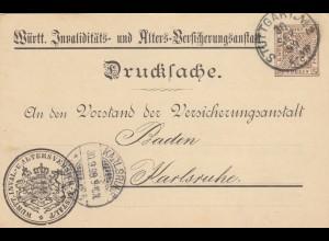 Ganzsache Drucksache Stuttgart / Tuttlingen 1899 nach Karlsruhe