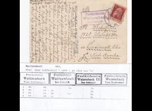Ansichtskarte Bamberg, Posthilfstelle Waitzenbach nach Cincinnati/Ohio USA