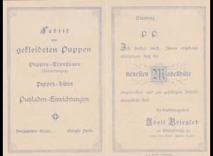 Karte Nürnberg, Fabrik für gekleidete Puppen, Modellhüte, Putzladen Einrichtung