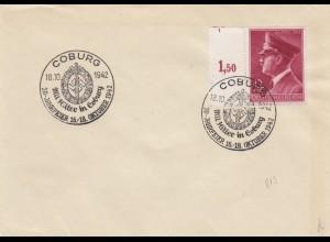 Blanko Sonderstempelbeleg 1942: Coburg: 20-Jahrfeier mit Hitler