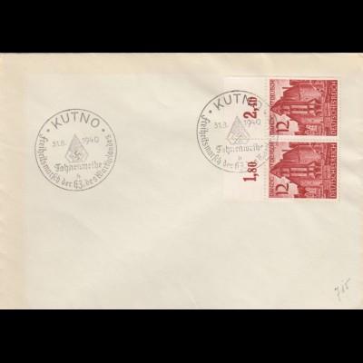 Blanko Sonderstempelbeleg 1940: Kutno: Fahnenweihe, Freiheitsmarsch Warthelandes