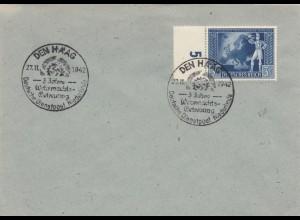 Blanko Sonderstempelbeleg 1942: Den Haag: Wehrmachstbetreuung Dt. Dienstpost NL