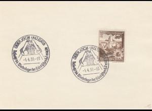 Blanko Sonderstempelbeleg 1939: Oberjoch: Besuch d. Winterlager fränkische hj
