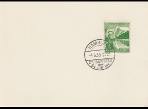 Blanko Sonderstempelbeleg 1939: Hamburg: Divisionstag der 54. JNF. DIV.