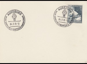 Blanko Sonderstempelbeleg 1939: Augsburg: WHW Sammlung d. Beamten u. Handwerker