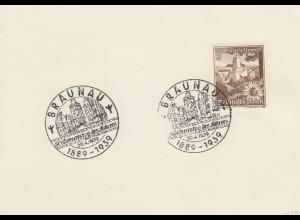 Blanko Sonderstempelbeleg 1939: Braunau: 50. Geburtstag d. Führers