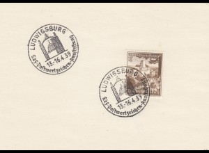Blanko Sonderstempelbeleg 1939: Ludwigsburg: kdf-Postwertzeichen-Ausstellung