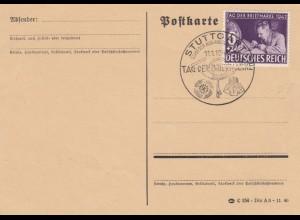 Blanko Sonderstempelbeleg 1942: Stuttgart: Tag d. Briefmarke, Stadt. d. Ausland.