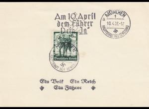 Blanko Sonderstempelbeleg 1938: München: 10. April dem Führer Dein Ja, Ein Volk