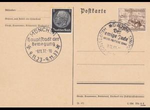 Blanko Sonderstempelbeleg 1937: München: Grosse Politische Schau, Der ewige Jude