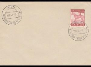 Blanko Sonderstempelbeleg 1943: Wien: Grosser Preis von Wied, Freudenau