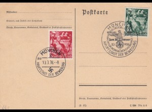 Blanko Sonderstempelbeleg 1938: München: Zum 30. Januar, Hauptstadt der Bewegung